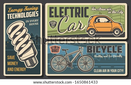 Energy savings and eco transport retro banners of ecology and environment protection vector design. Economy fluorescent light bulb, electric car and bicycle with green city on background Stock photo ©