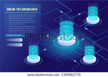 Energy station concept, cloud storage technology, data center,  data storage, server room. Isometric vector illustration.