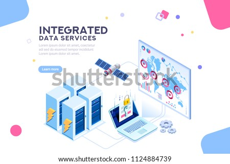 Energy station of future. hardware of global data center, electronic server net for software solutions to share informations on digital network. ethernet technology. Flat isometric illustration vector