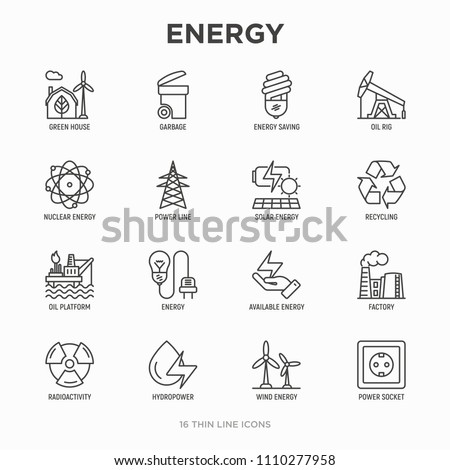 energy thin line icon  factory