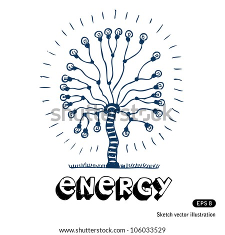 Energy tree of light bulbs. Hand drawn sketch illustration isolated on white background
