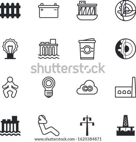 energy vector icon set such as: full, oilfield, petroleum, cloud, drink, manufacturing, emissions, temperature, offshore, caffeine, cup, battery, well, pole, plastic, city, mug, breakfast