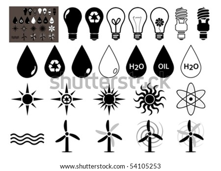 Energy vector icons set that symbolize energy	  filled symbols