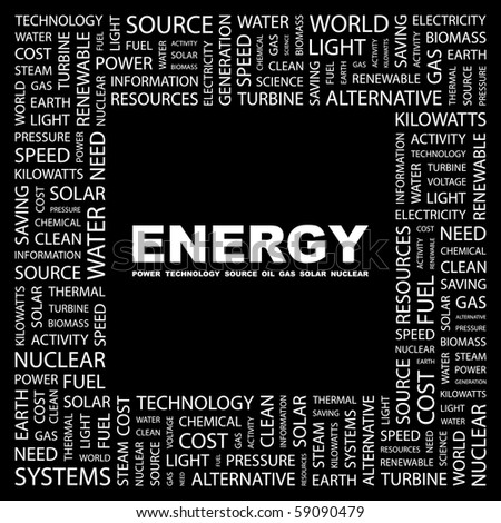 ENERGY. Word collage on black background. Illustration with different association terms.