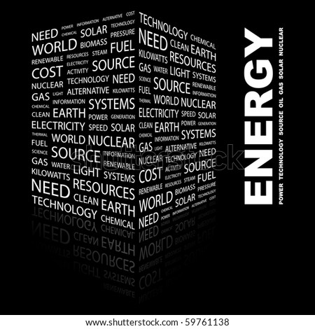 ENERGY. Word collage on black background. Vector illustration.