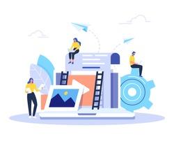 Engaging content, blogging, media planning, promotion in social network concept. Flat vector illustration.