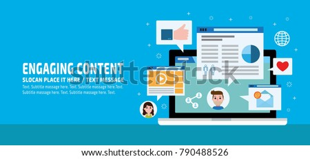 Engaging Content content marketingmarketing mix social media sharingbusiness infographic elements icon conceptflat vector advert banner design presentation website template background illustration