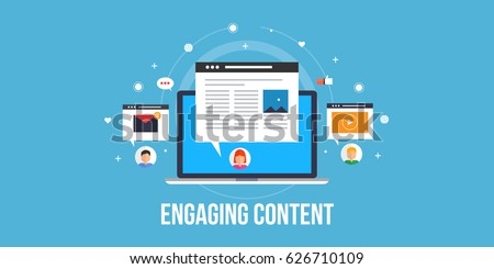 Engaging Content, content marketing success, marketing mix, social media sharing flat vector concept with icons isolated on blue background