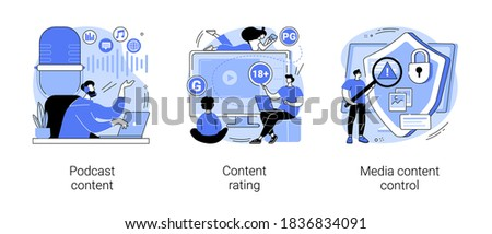 Engaging marketing abstract concept vector illustration set. Podcast content rating, media content control, promotion strategy, monetization, games and apps, user guidelines abstract metaphor.
