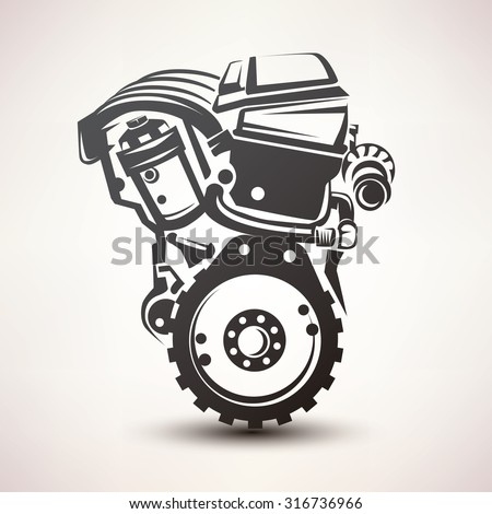 engine car symbol  stylized