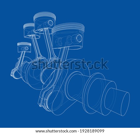 Engine crankshaft with pistons outline. Vector rendering of 3d. Wire-frame style Photo stock ©