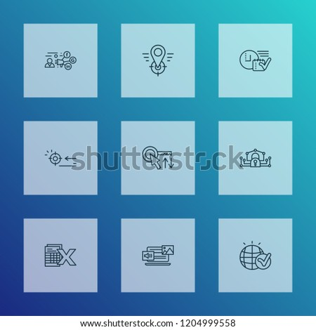 Engine icons line style set with mixed content, promotion, sort keywords and other arrow elements. Isolated vector illustration engine icons.