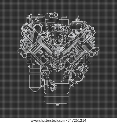engine line drawing background
