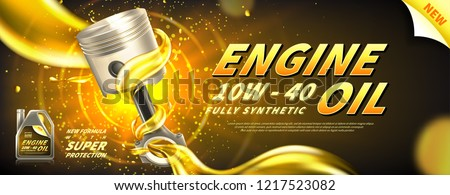 Engine oil advertisement background. Vector illustration with realistic piston and motor oil on bright background. 3d ads template.