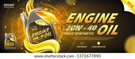 Engine oil advertisement banner. Vector illustration with realistic canister and motor oil splashes on bright background. 3d ads template.
