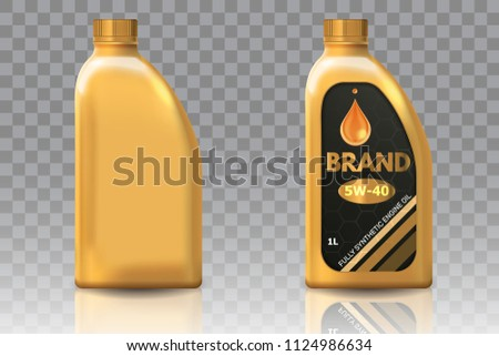 Engine oil plastic bottle package mockup set. Vector realistic illustration of blank plastic canister for motor oil and container with label isolated on transparent background.