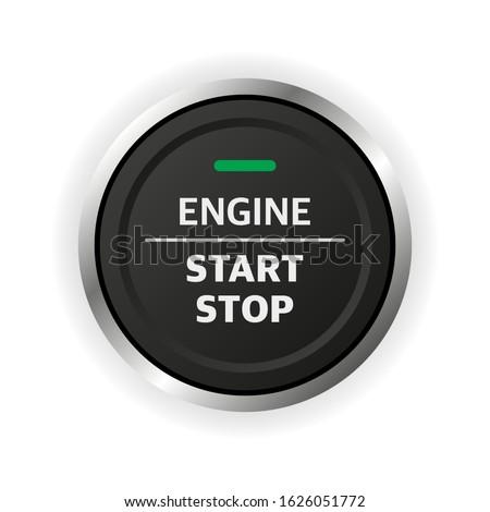Engine start stop button. Car dashboard element.