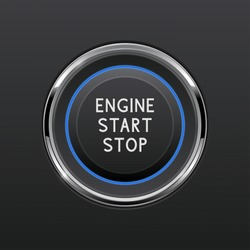 Engine start stop button. Car dashboard element. Vector 3d illustration