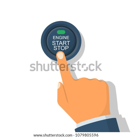Engine starting and stopping system. Engine start. The person presses the finger on the start and stop button of car motor. Vector illustration flat design. Isolated on white background.