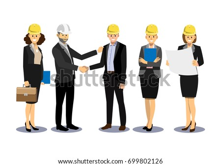 Engineer and businessman are shaking hands after planning for a new project, engineering and business team, cartoon flat-style vector illustration.