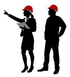 engineer and foreman working together silhouettes