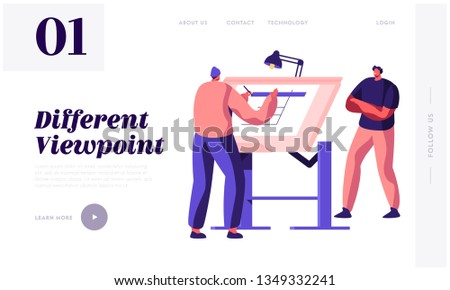 Engineer Architect Work on Draft Project on Drawing Board Landing Page. Man Creator of Architecture Drafting. Office Employee Projecting Plan Website or Web Page. Flat Cartoon Vector Illustration