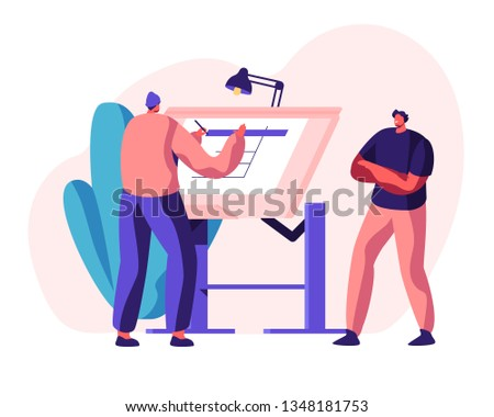 Engineer Architect Work on Draft Project on Drawing Board. Man Creator of Architecture Drafting. Office Person Projecting Professional Plan. Construction Layout Flat Cartoon Vector Illustration