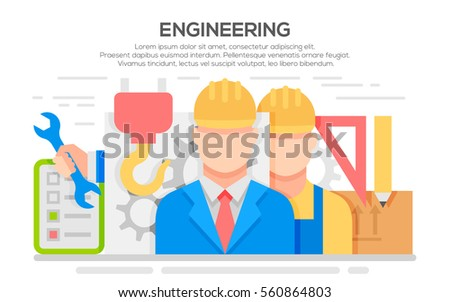 Engineer construction industrial factory manufacturing workers flat banner. Engineer concept design. Civil engineer and construction worker. Illustration of engineering,