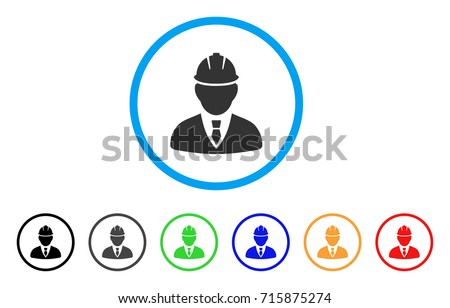 Engineer icon. Vector illustration style is a flat iconic engineer grey rounded symbol inside light blue circle with black, gray, green, blue, red, orange color additional versions.