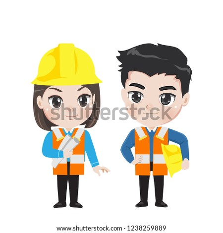 Engineer man and lady in work outfit.