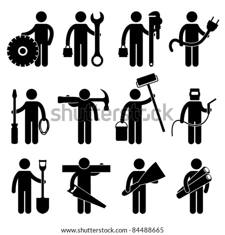 Engineer Mechanic Plumber Electrician Wireman Carpenter Painter Welder Construction Architect Job Occupation Sign Pictogram Symbol Icon