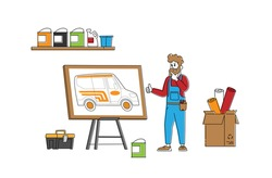 Engineer or Mechanic Character Presenting Design for Car Tuning. Vehicle Modification at Auto Service. Car Body Shop, Transport Upgrade, Painting Sticking of Wrapping Decal. Linear Vector Illustration