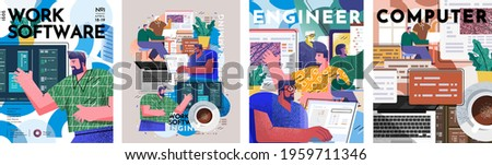 Engineer, software and programming. Vector illustration of working people at the computer in the office, monitors with programs and software developers. Drawings for poster, cover or background