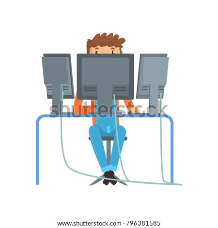 Engineer system IT administrator at work, networking service cartoon vector illustration