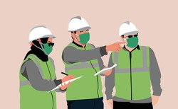 Engineer team discuss on project location. Engineer worker wearing mask.  Supervising architecture built project. Safety equipment for engineer.