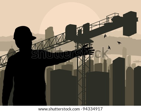 Engineer watching building process in city vector background