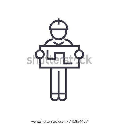 engineer with tablet linear icon, sign, symbol, vector on isolated background