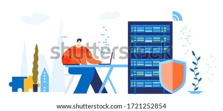 engineer working in server room
