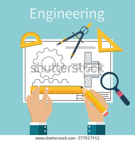 Engineer working on blueprint. Drawing, technical scheme. Sketching gear, project. Engineer Designer in project. Drawings for production, manufacturing processes. Vector, flat
