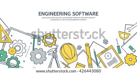 Engineering and architecture design.Flat outline style.Stroke,lines.Drawing,mechanical engineering.Building construction,trends in design or architecture.Engineering workplace.Industrial architecture.