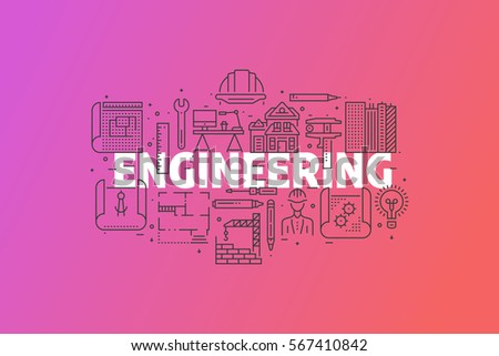 Engineering And Blueprint Banner Illustration. Line Icons Design Set