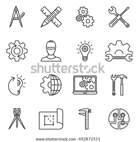 Engineering and Construction line icon set. Vector illustration.
