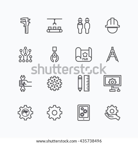 Engineering and manufacture silhouette icons set flat thin line design vector