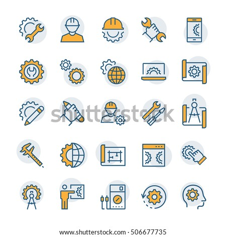 Engineering and manufacturing icon set in thin line style. Vector symbols.