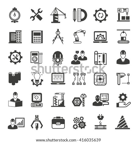 engineering and manufacturing icons, engineering icons set, project engineer icons