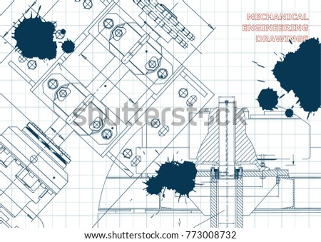 Engineering backgrounds. Technical Design. Mechanical engineering drawings. Blueprints. Draft. Ink. Blots