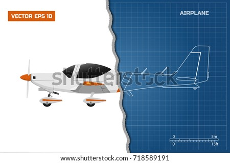 Engineering blueprint of plane. Side view of sport airplane. Industrial drawing of aircraft. Vector illustration