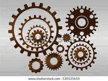 engineering brown gear wheel