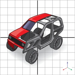 Engineering design 3d car frame structure,  vehicle cutaway illustration. Vector