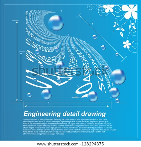 Engineering Detail Drawing - Vector Illustration For Technical Covers